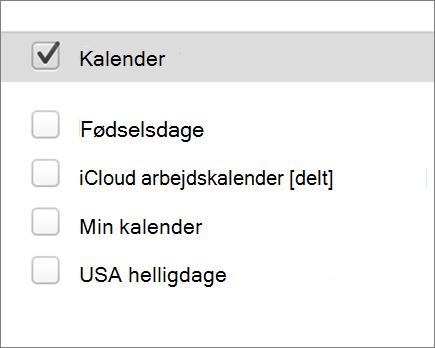 iCloud kalender i Outlook 2016 til Mac