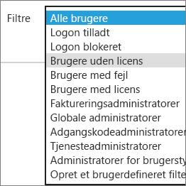 Vælg brugere uden licens fra listen Filtre.