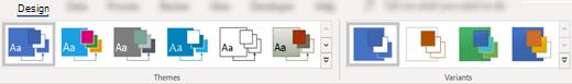 Temaer og varianter under fanen Design på båndet i Visio.