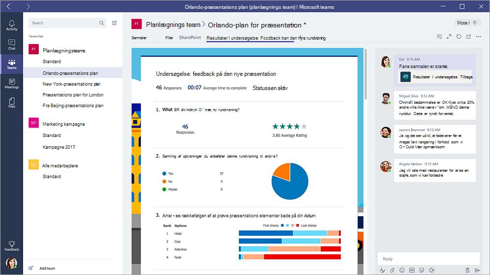 """Fanen formularer i Microsoft teams, der viser en formular i tilstanden """"resultater"""""""