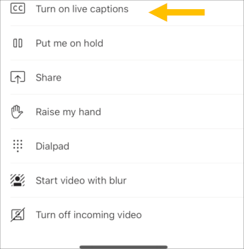 Aktivere direkte billedtekster – mobil skærmbillede