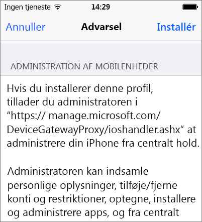 Installere profiladvarsel iPhone
