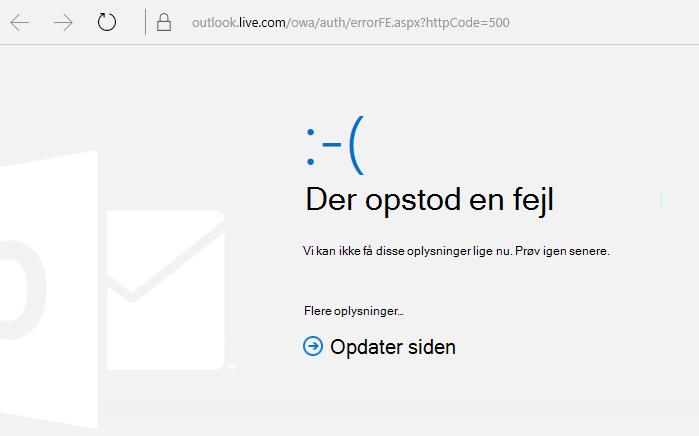 """Outlook.com """"Der opstod en fejl"""" fejlmeddelelse 500"""