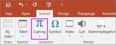 Viser knappen til indsættelse af ligninger i PowerPoint