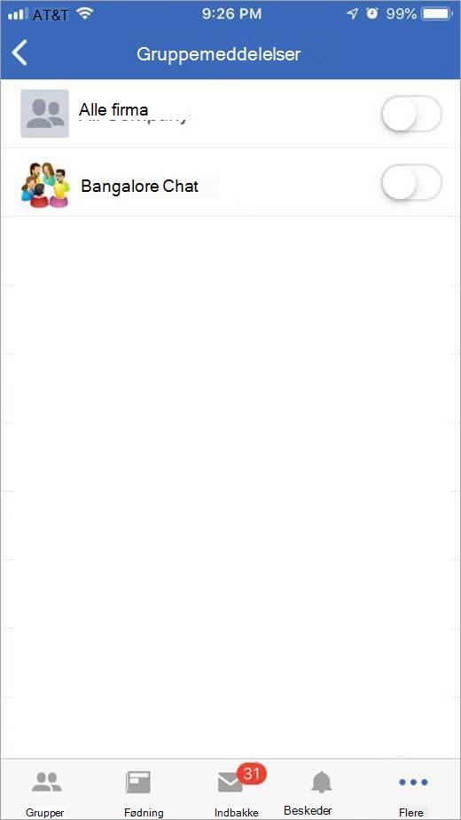 iOS Yammer-siden for at vælge grupper, der skal modtage beskeder fra