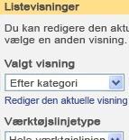 Værktøjsruden for webdelen Ordreoversigt med den valgte visning angivet til efter kategori.