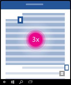 Illustration, som viser, hvordan du trykker tre gange for at markere et afsnit