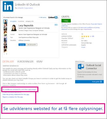 Link til en appudviklers websted