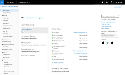 Et eksempel på, hvordan Office 365 Administration ser ud, når du har en Skype for Business Online Plan.