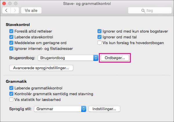 I Stave- og grammatikkontrol skal du klikke på Ordbøger for at vælge, hvilke brugerordbøger Word bruger under stavekontrol.