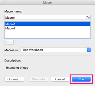 Dialogboksen Makroer i Excel til Mac