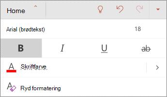 Menuen skrifttype i PowerPoint til Android.