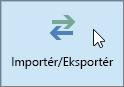 Skærmbillede af knappen Importér/Eksportér i Outlook 2016
