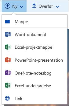 Oprette en ny fil i et dokumentbibliotek i Office 365