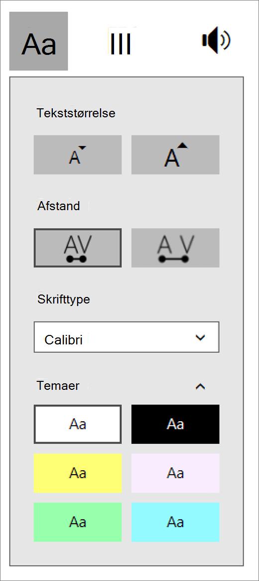 Tekst indstillingsmenuen i fordybende læser en del af Learning værktøjer tilføjelsesprogram til OneNote