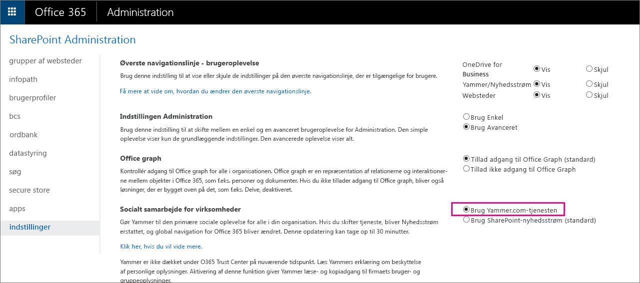 SharePoint Administration, som viser indstillingen for Bruger på Yammer.com-tjenesten