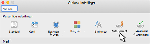 Knappen Autokorrektur i Outlook til Mac