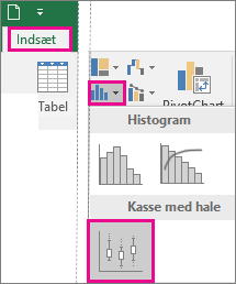 Boksplot og kassediagram på fanen Indsæt i Office 2016 til Windows