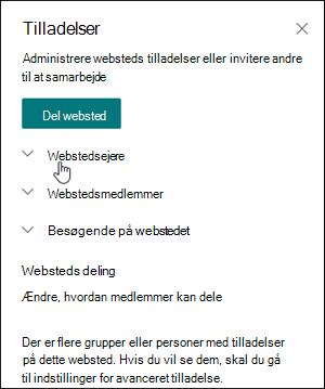 Feltet Webstedstilladelser