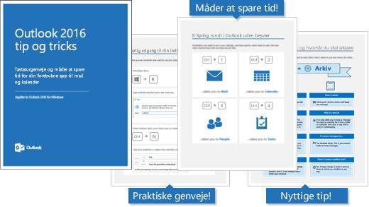 Outlook 2016 tips og tricks e-bogsforside, sider indeni viser nogle tips