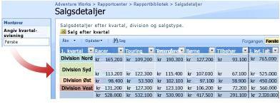 Feltet Angiv kvartal, der skal vises er en Tekstfilter-webdel, der viser rapporten efter det angivne kvartal.