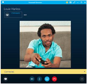 Sådan ser et opkald i Skype for Business/PBX eller andre telefonopkald ud på computeren.