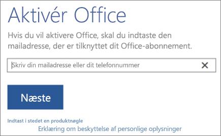 Viser vinduet Aktivér Office