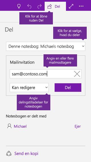 Skærmbillede af deling af en hel notesbog i OneNote