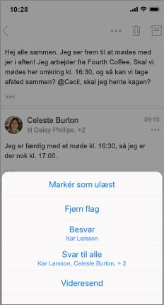 Mail tråd med markering som ulæst, Ophæv flag og andre indstillinger