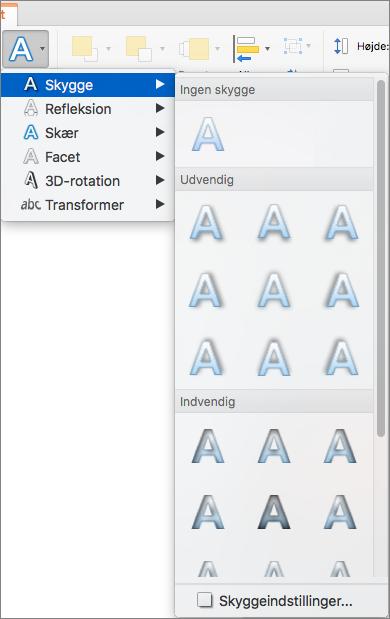 Skyggeindstillinger i menuen Teksteffekter