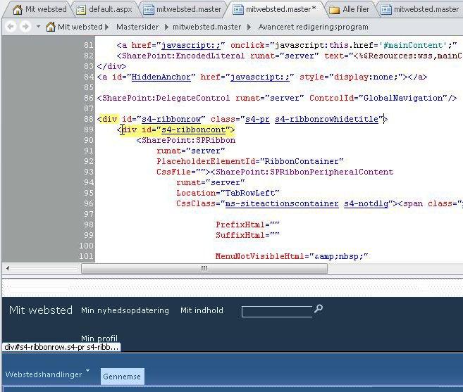 Brug Div-koder til at tilpasse mastersiden for Mit websted