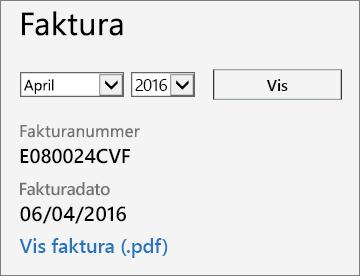 Skærmbillede af afsnittet Faktura på siden Fakturaoplysninger i Office 365 Administration.