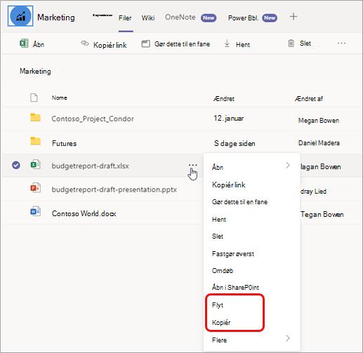 Vælg Flere indstillinger for at flytte eller kopiere fil