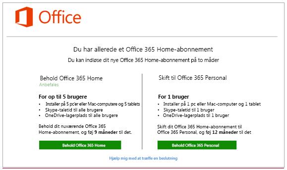 Vælg, hvordan du vil ændre dit Office-abonnement