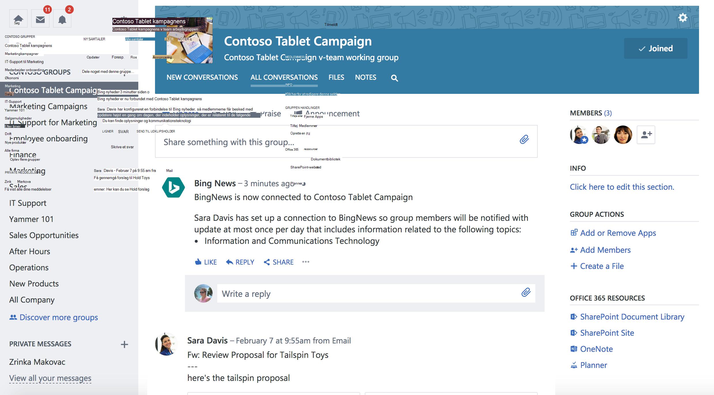 Skærmbillede af Office 365 forbindelsen Yammer-gruppe med ny forbindelse
