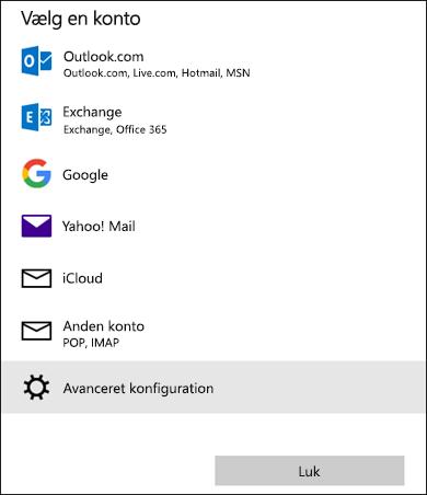 Vælg en kontodialogboks, som viser en liste over mailtjenester.