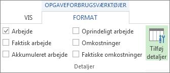 Fanen Formateringsværktøjer til opgaveforbrug, knappen Tilføj detaljer
