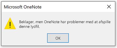 OneNote har desværre problemer med at afspille denne lydfil.