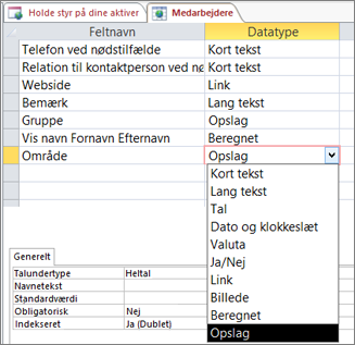 Indstille datatypen for Opslag for et opslagsfelt