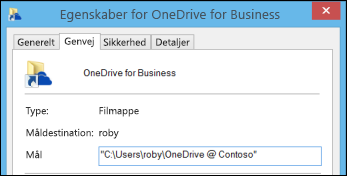 Mappeegenskaber for den synkroniserede biblioteksmappe for OneDrive for Business