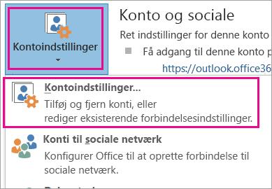 Vælg Filer, Kontoindstillinger, Kontoindstillinger for at fjerne en Gmail-konto.