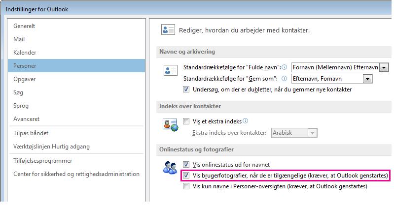 Skærmbillede af vinduet med Outlook-indstillinger, hvor afkrydsningsfeltet Aktivér billeder er fremhævet