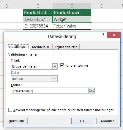 Eksempel 2: Formler i datavalidering
