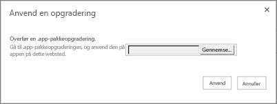Dialogboksen til at anvende en opgradering