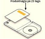 produktnøglen findes i emballagen på en etiket på kortet modsat diskholderen på venstre side af etuiet