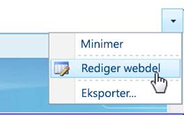 Klik på Rediger webdel