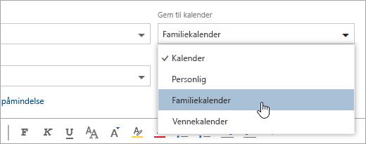 Et skærmbillede af listen Gem i rullemenuen kalender