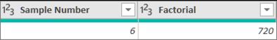 Tilføjelse af en kolonne for at få et tals factorial