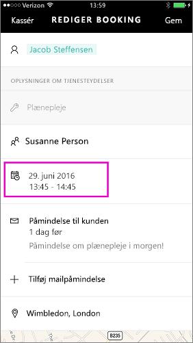 Tryk på dato og klokkeslæt kan ændres