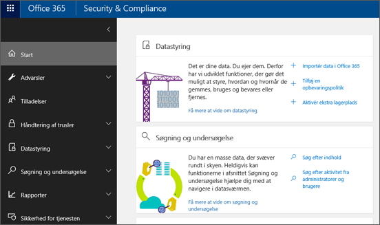 Office 365 Security & Compliance Center – startside